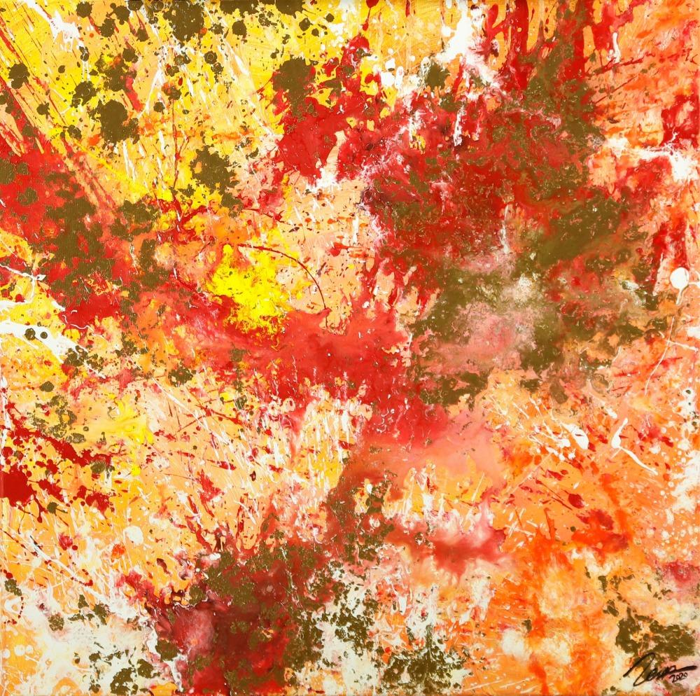 Gemälde Original abstrakt 70x70cm Action Painting zeitgenössisch auf Leinwand Mischtechnik rot orange beige hochwertig