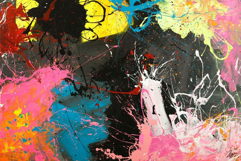 Gemälde Original abstrakt 120x180cm Action Painting Moderne Kunst handgemalt  schwarz anthrazit bunt hochwertig