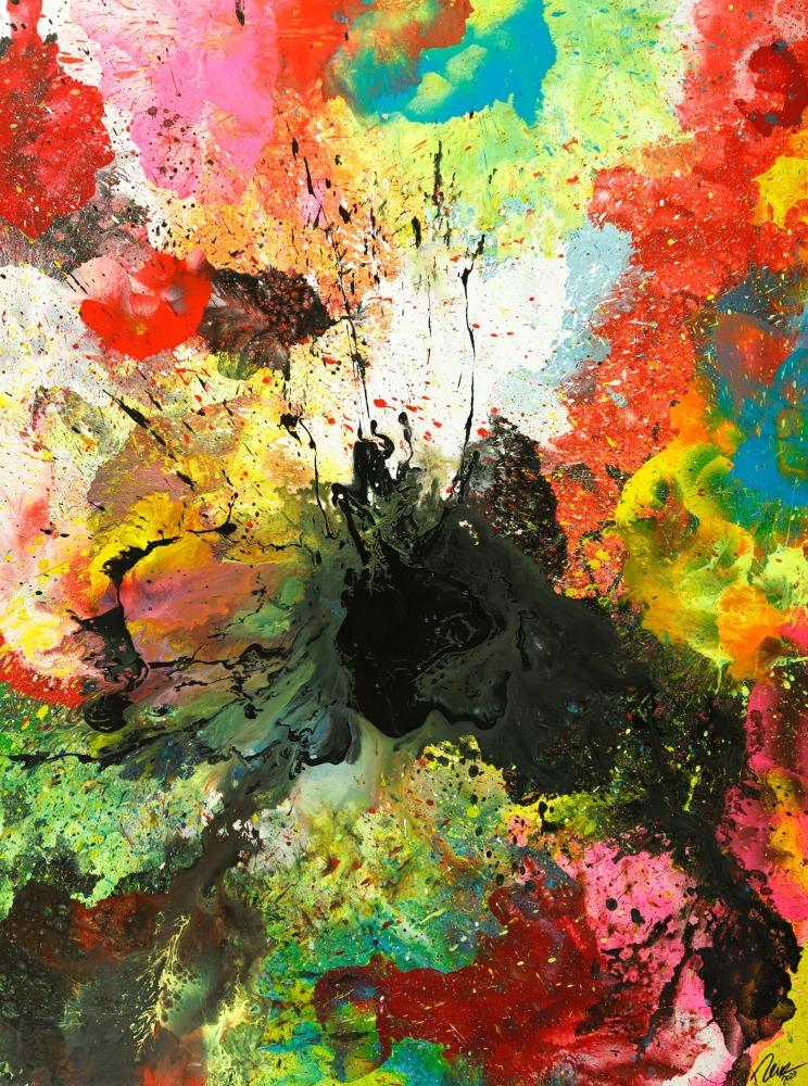 Original Gemälde abstrakt 200x150cm Action Painting zeitgenössisch handgemalt Mischtechnik schwarz bunt einzigartig