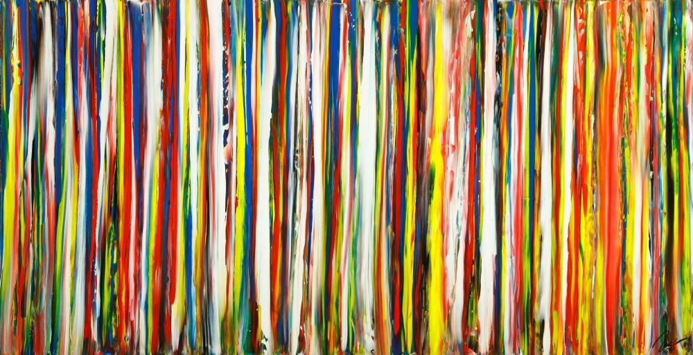 Gemälde Original abstrakt 100x200cm Spachteltechnik zeitgenössisch auf Leinwand bunte Streifen schwarz Unikat