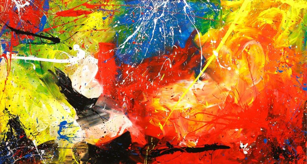 Gemälde Original abstrakt 80x150cm Action Painting Modern Art handgefertigt  rot gelb orange einzigartig