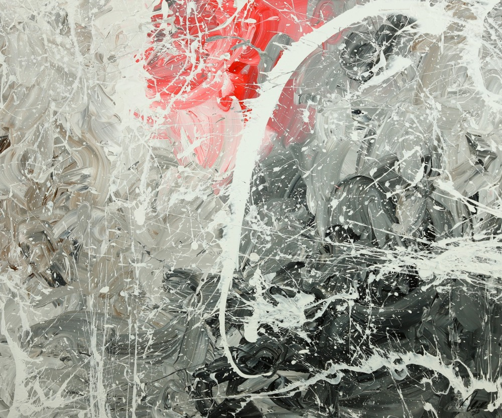 Gemälde Original abstrakt 100x120cm Action Painting zeitgenössisch handgefertigt Mischtechnik weiß grau anthrazit Unikat