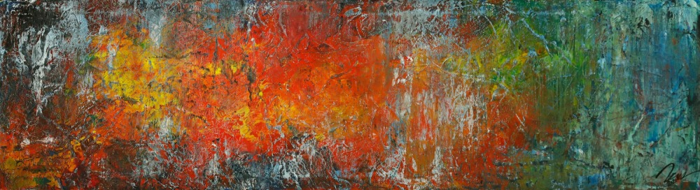 Gemälde Original abstrakt 40x150cm Spachteltechnik expressionistisch handgemalt bunte Farben Einzelstück