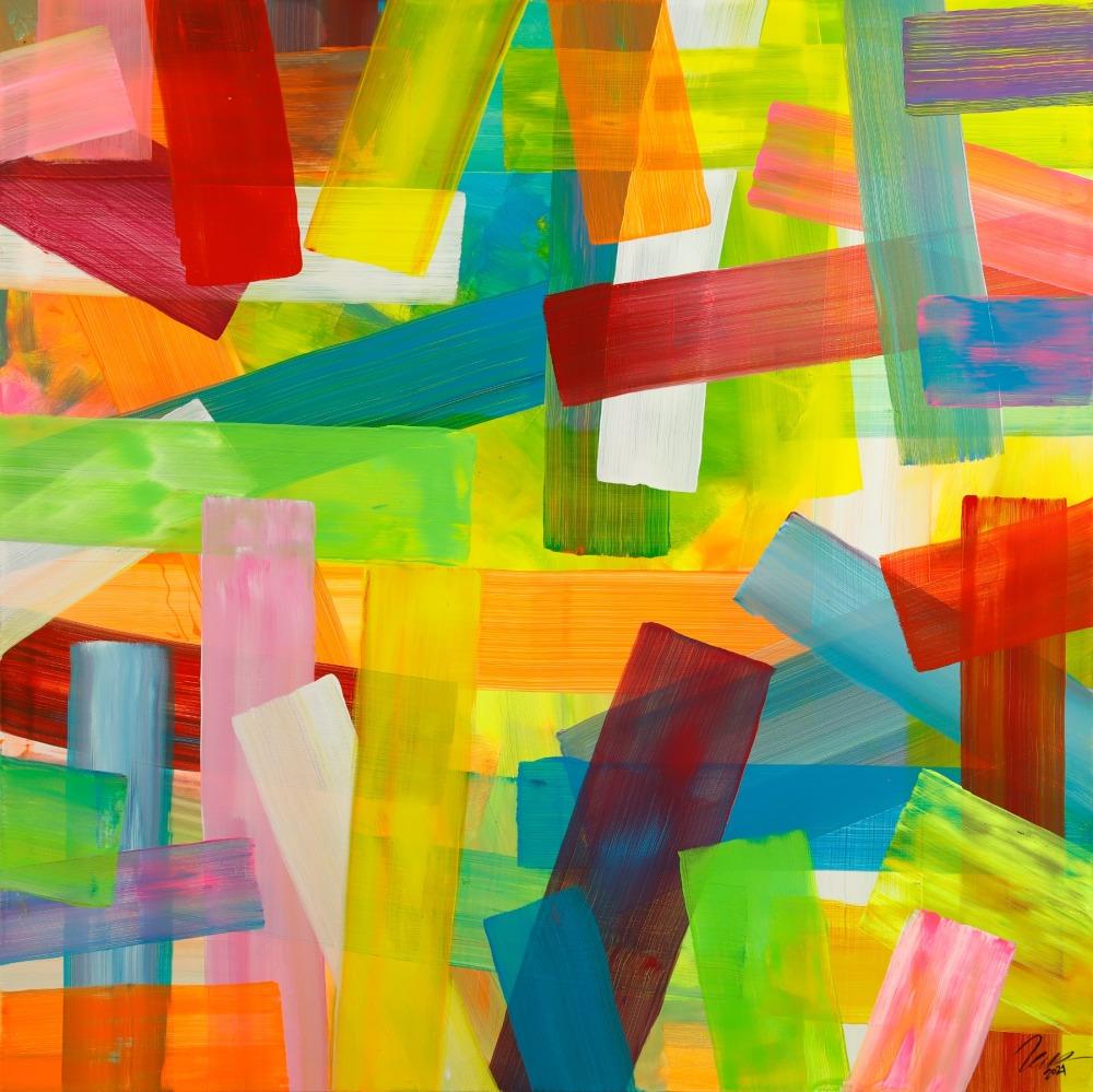 Gemälde Original abstrakt 150x150cm bunte Streifen Mischtechnik Modern Art handgefertigt gelb rot hellgrün Einzelstück