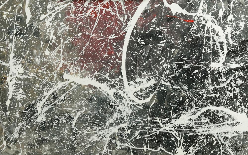 Original Gemälde abstrakt 75x120cm Action Painting Moderne Kunst auf Leinwand anthrazit grau rosa weiß Einzelstück