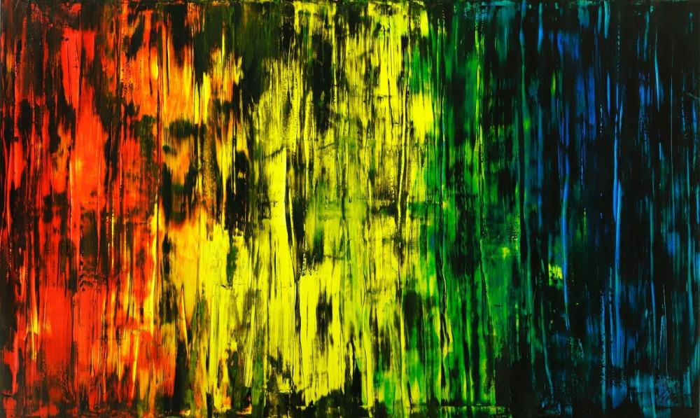 Abstraktes Original Gemälde 120x200cm Spachteltechnik Moderne Kunst handgemalt Mischtechnik bunt und schwarz Einzelstück