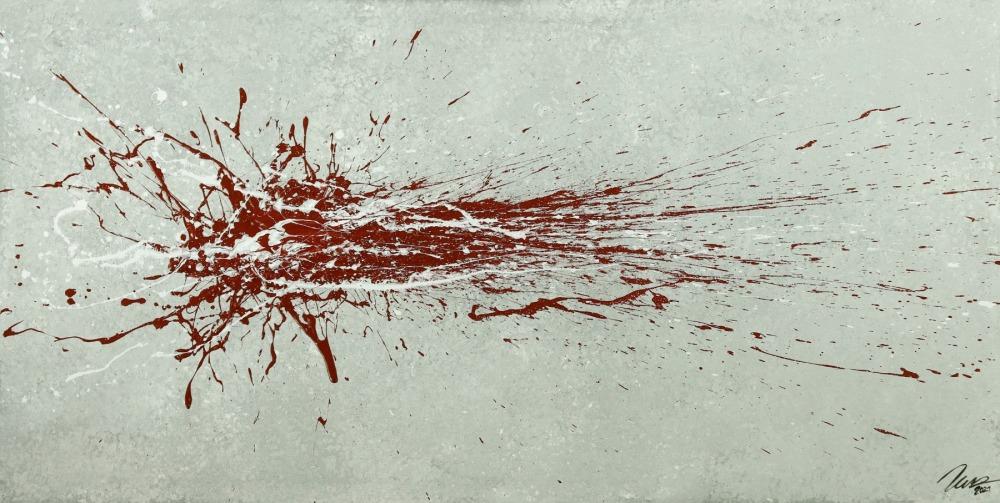 Gemälde Original abstrakt 80x160cm Action Painting Moderne Kunst auf Leinwand grau rot weis Einzelstück