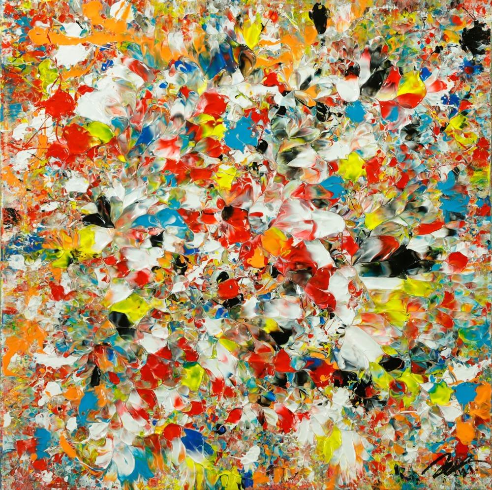 Abstraktes Original Gemälde 50x50cm Mischtechnik Moderne Kunst auf Leinwand sehr bunt orange einzigartig