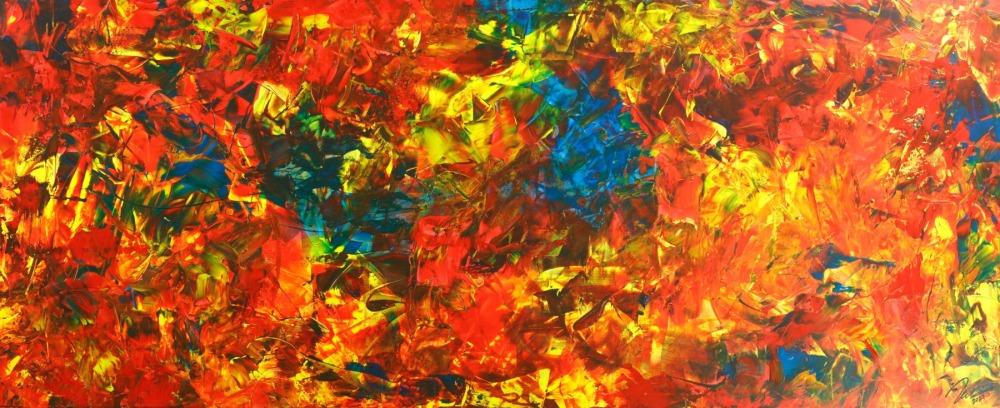 Original Gemälde abstrakt 100x250cm  Modern Art handgemalt  rot gelb blau hochwertig