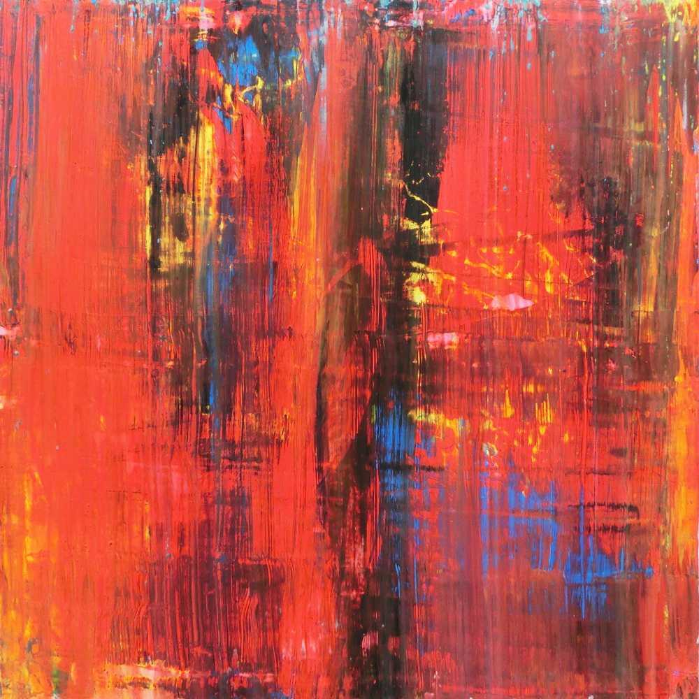 Abstraktes Actylbild quadtratisch modern in rot