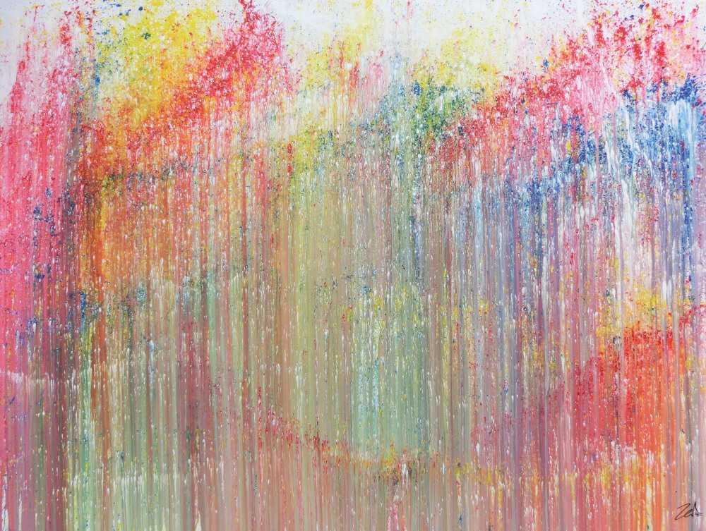 Hochwertige Kunst Auf Leinwand Buntes Acrylbild Abstrakt Modern