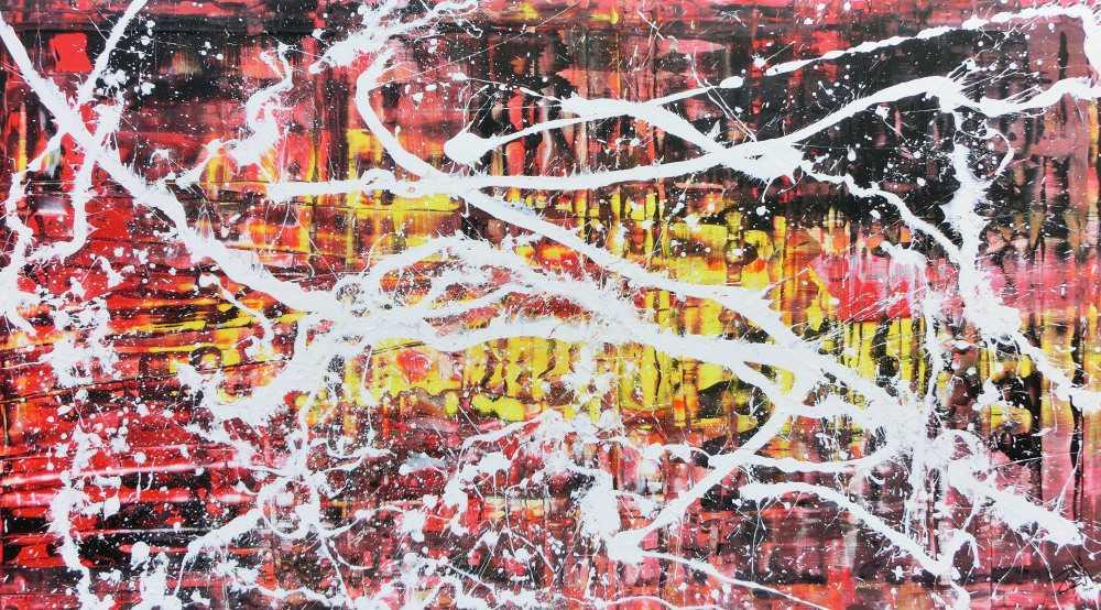 Abstraktes Acrylbild in rot schwarz gelb und weiß sehr modern