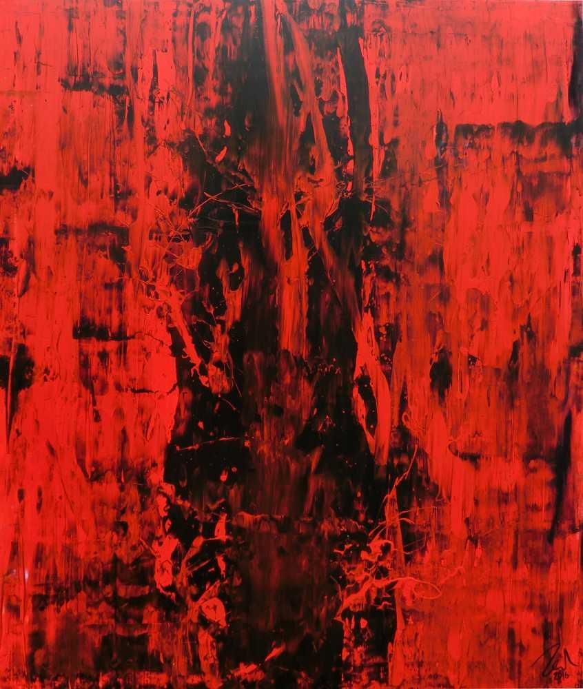 Abstraktes gemälde schwarz rot modern schlicht minmalistisch