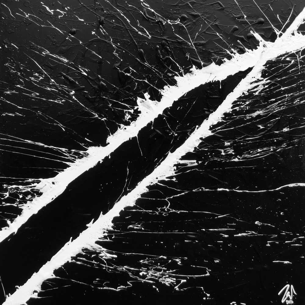 Minimalistisches Acrylgemälde schwarz weiß modern schlicht