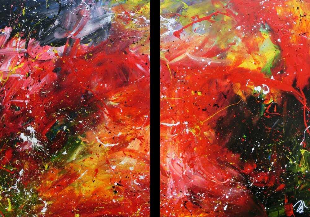 Modernes abstraktes Acrylgemälde bunt aus zwei Teilen