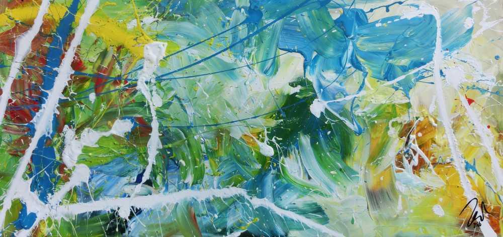 Modernes helles abstraktes Acrylgemälde bunt mit viel weiß und türkis
