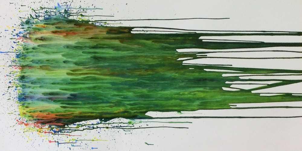 Abstraktes Acrylgemälde modern Fließtechnik grün türkis weiß