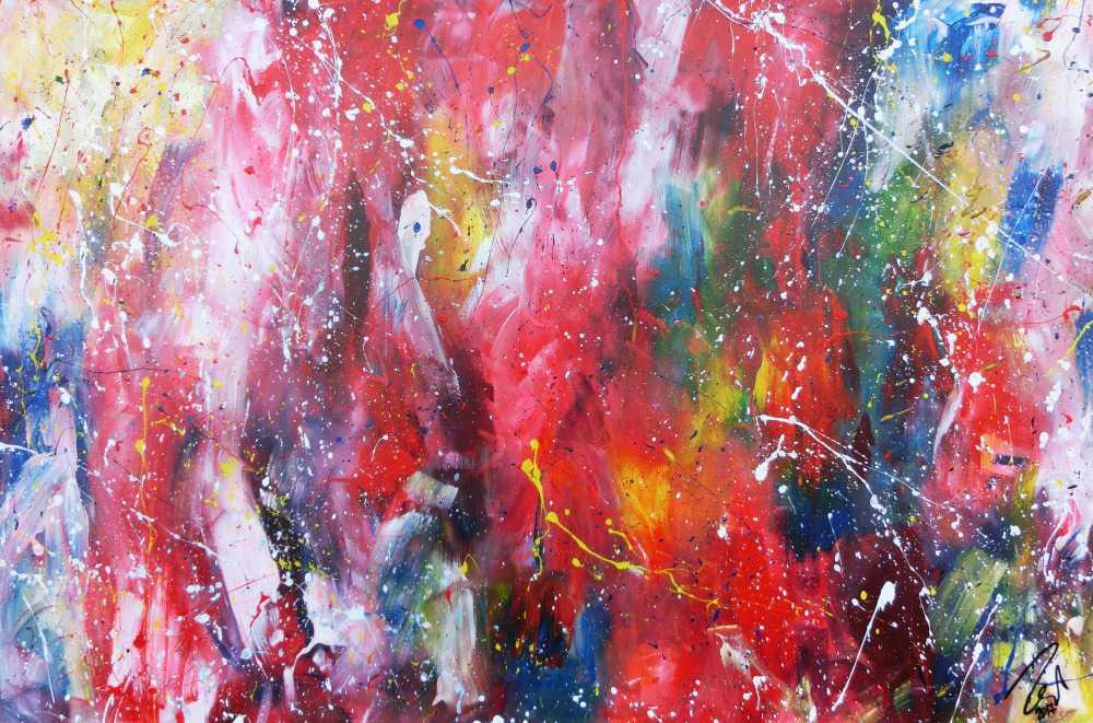 Abstraktes Acrylbild sehr bunt modernes Gemälde viele Farben