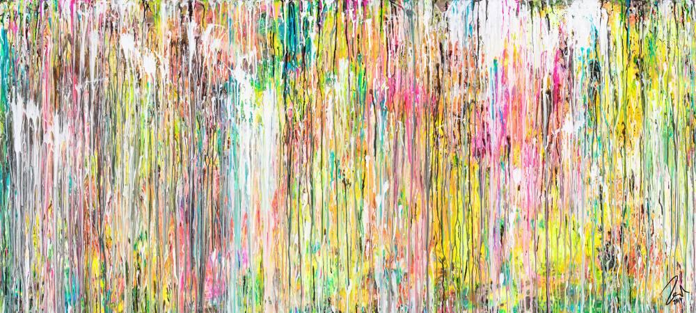 Abstraktes Acrylbild sehr bunt mit Neonfarben in Mischtechnik