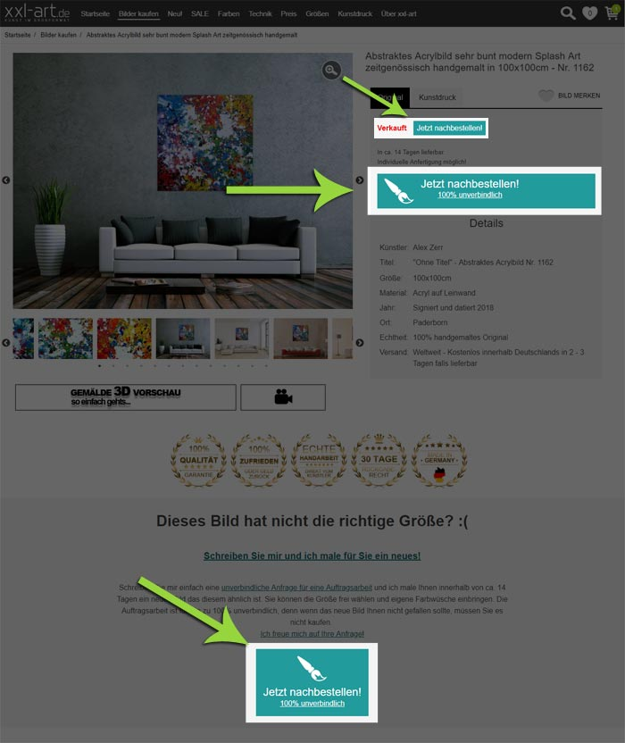 Beispiel zu Auftragsmalerei bestellen bei xxl-art.de